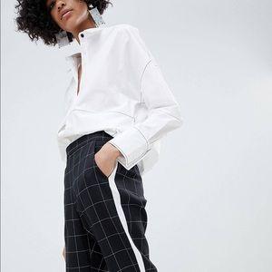 plaid asos ankle length sport trousers side stripe